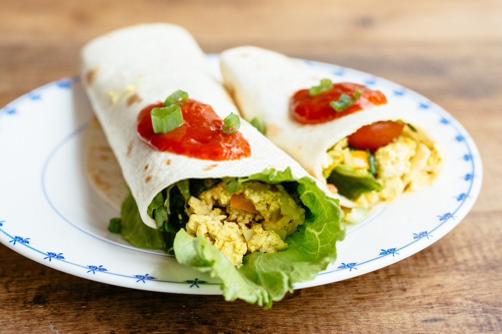 Samosa Sweet Potato & Tofu scramble Wraps