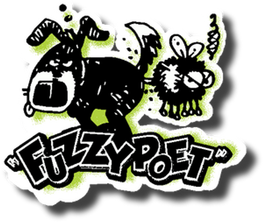 Fuzzy Poet Diecut Sticker (c) 2015 Drew Gold. All rights reserved.