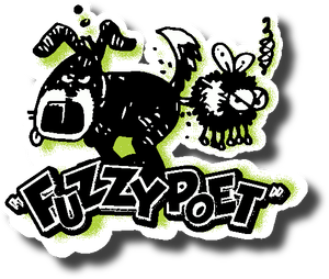 Fuzzy Poet Diecut Sticker (c) 2015 Drew Gold. All rights reserved.
