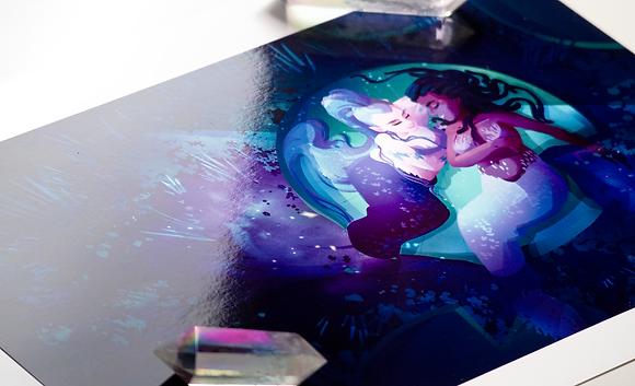 8.5x11 𝑀𝑒𝓉𝒶𝓁𝓁𝒾𝒸 Mermaids Print