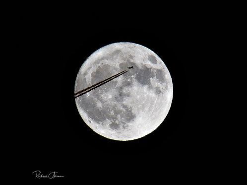 Plane Crossing Moon - Print