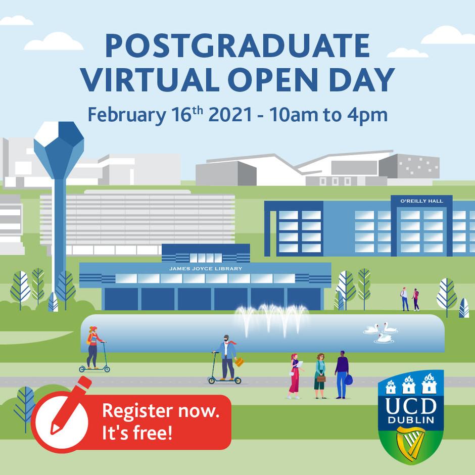 UCD Virtual Postgraduate Open Day Feb 16th 2021