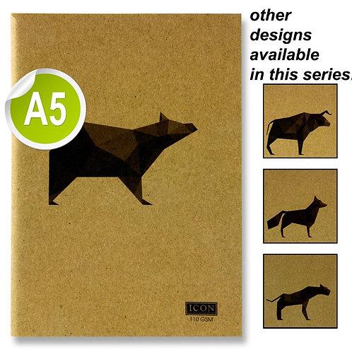 Icon A5 80pg 110gsm KraftSketch Book Animalia Design 4Asst