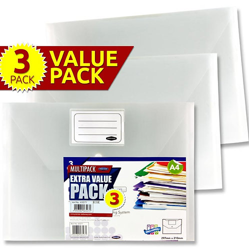 Premier Office Pkt.3 A4 ButtonDocument Wallets
