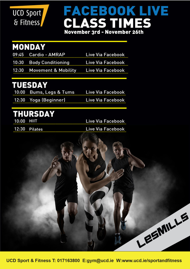 UCD Sport & Fitness Facebook Live Class Times Nov 3rd - 26th