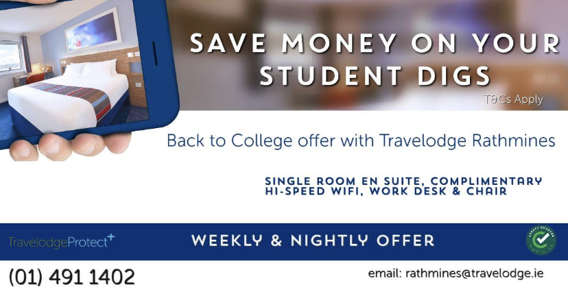 Back to College offer with Travelodge Rathmines