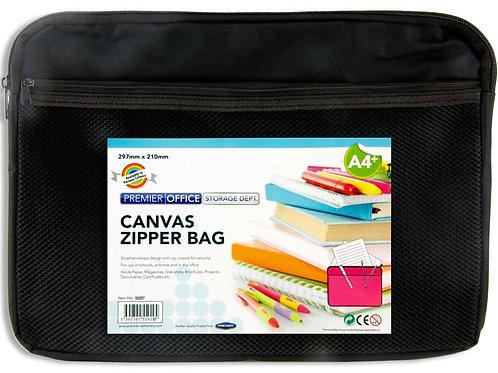Premier Office A4+ CanvasTwin Zipper Bag - Black