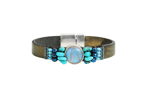Bracelet en cuir brodé Blue morpho
