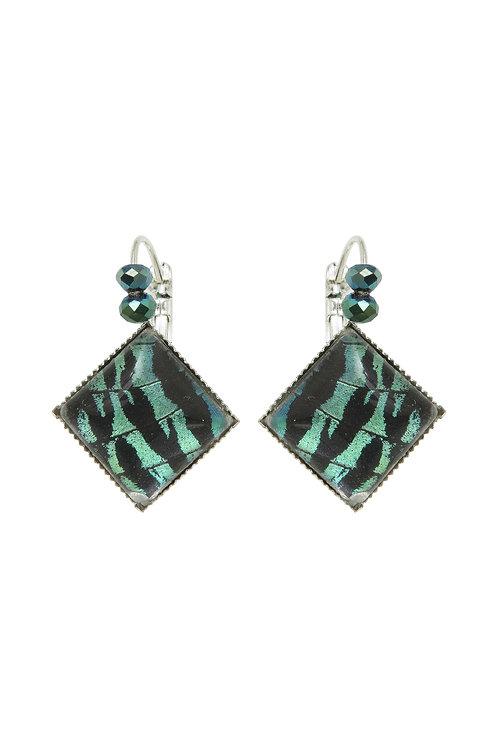 Boucles d'oreille carrées Sunset moth vert