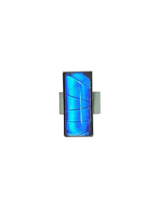 Bague rectangle Blue Morpho