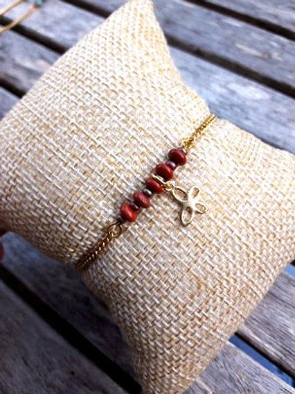 Bracelet gold filled jaspe rouge