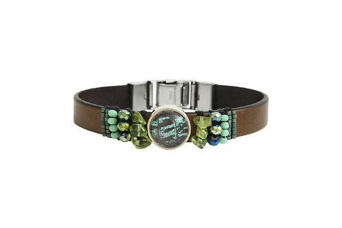 Bracelet en cuir brodé Sunset Moth vert