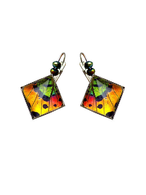 Boucles d'oreilles carrées Sunset Moth orange