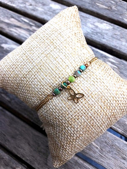 Bracelet gold filled perles turquoise