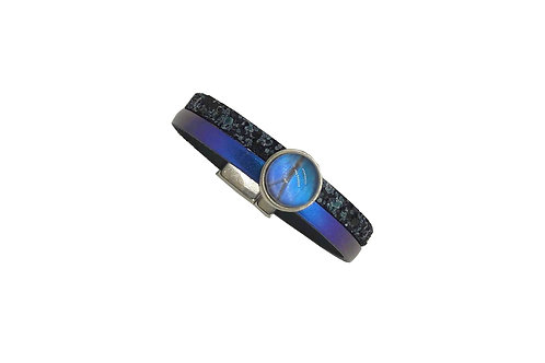 Bracelet bicolore cuir bleu