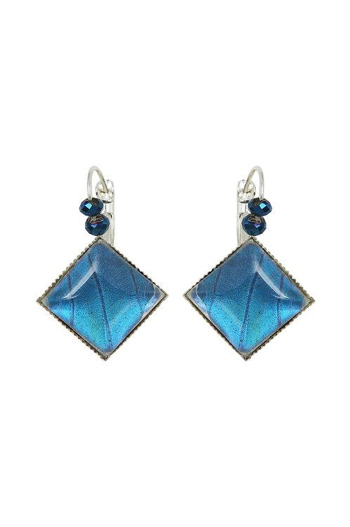 Boucles d'oreille carrées Blue morpho