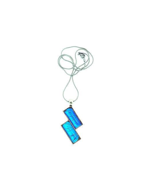 Pendentif rectangle double Blue Morpho