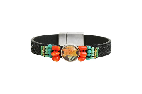 Bracelet en cuir brodé Sunset Moth orange