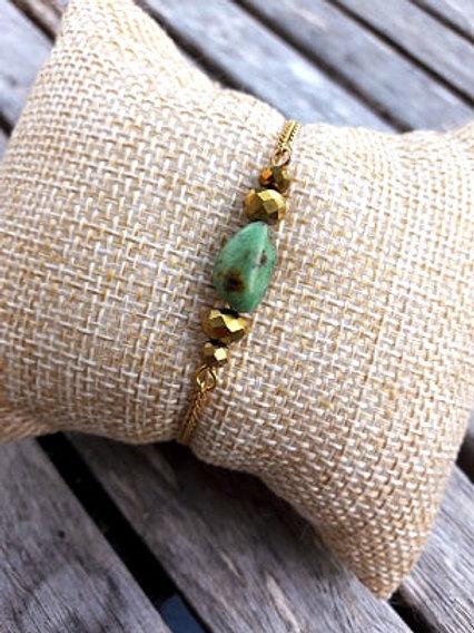 Bracelet gold filled nugget turquoise
