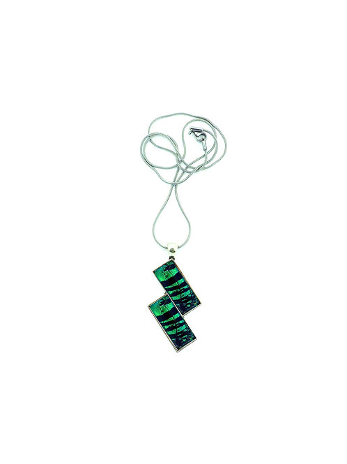 Pendentif rectangle double Green Sunset