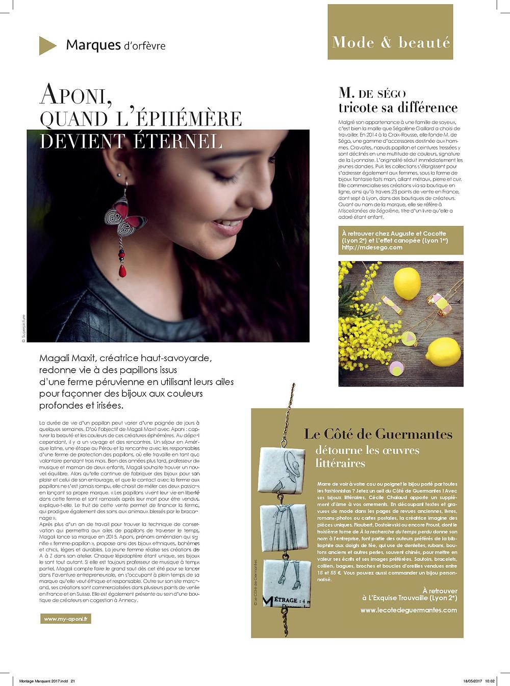 Merci au Tout Lyon magazine pour cette interviw qui résume l'histoire et la démarche éthique d'Aponi.