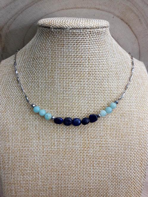 Collier Aïna Lapis lazuli et Amazonite