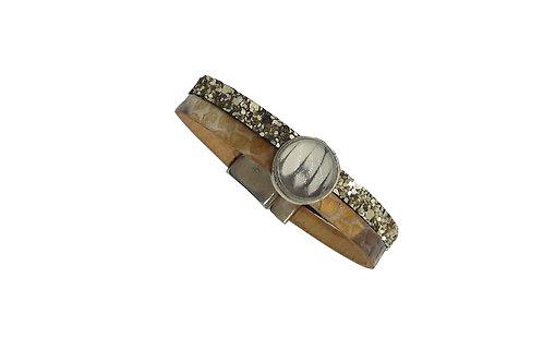 Bracelet bicolore cuir or et blanc