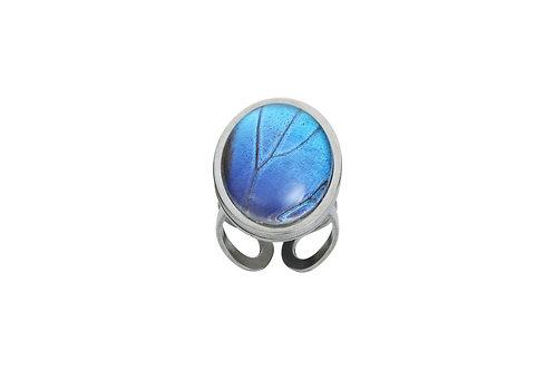 Bague ovale Blue morpho