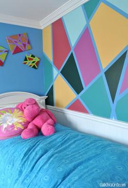 Painted geometric design