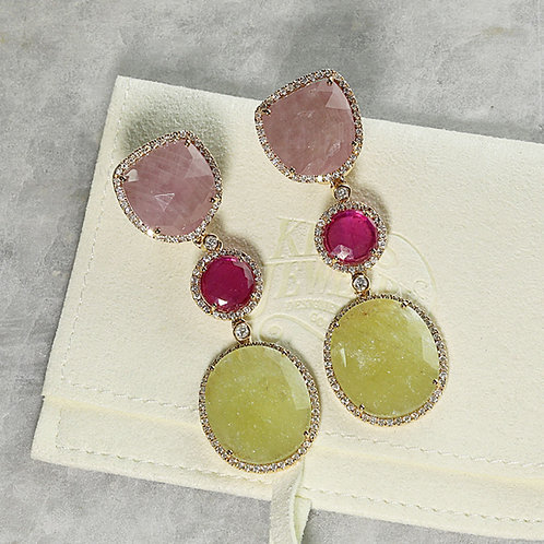 Pink & Yellow Sapphire Earrings