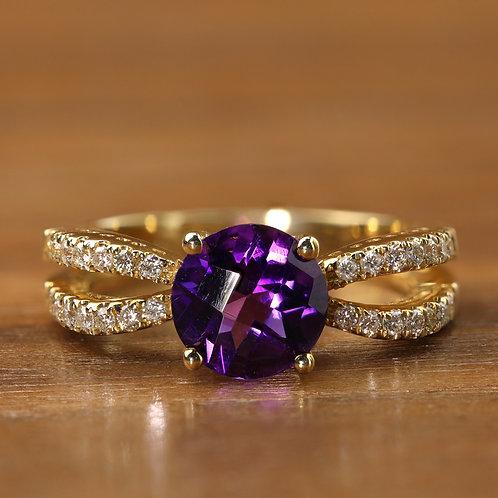 Split Shank Amethyst Ring