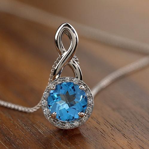 Infinity Pendant with Blue Topaz