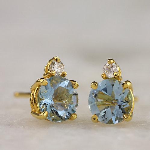 Diamond Accented Aquamarine Studs