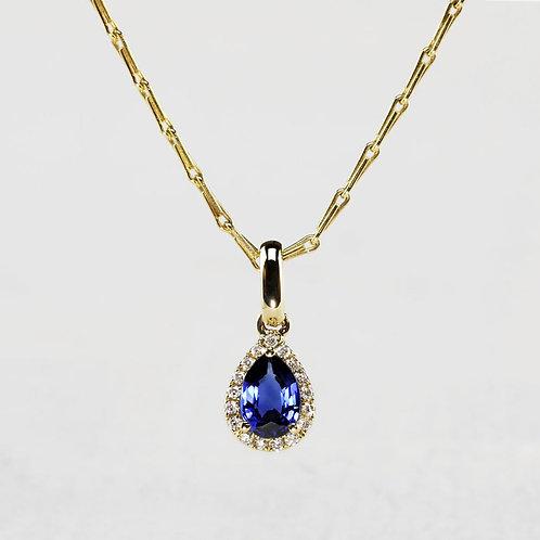 Pear Halo Sapphire Pendant