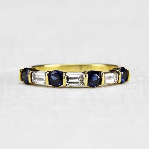 Sapphire & Emerald Cut Diamond Band
