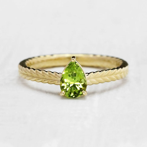 Braided Accented  Peridot Ring