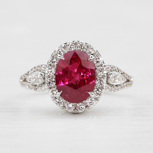 Pear Accent Ruby Ring