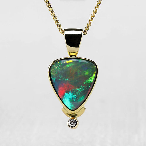 Diamond Accented Opal Pendant