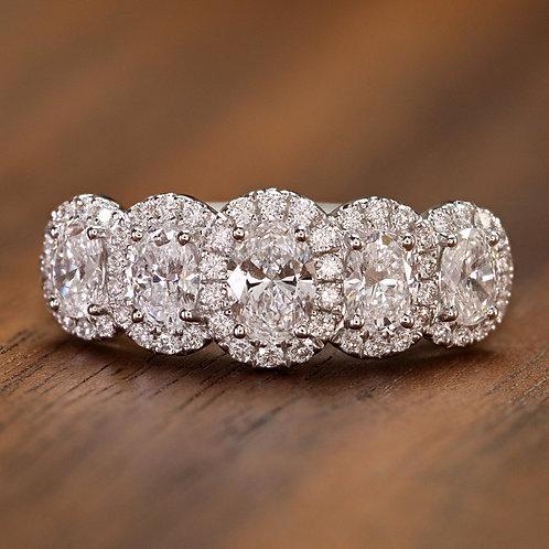 Oval Diamond Wedding Band