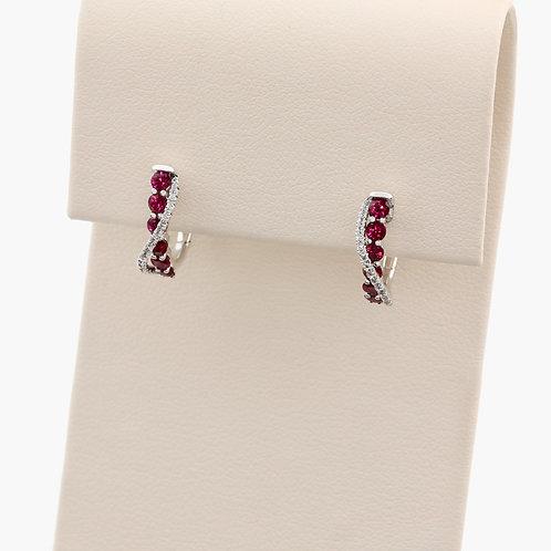 Ruby & Diamond Twist Earrings