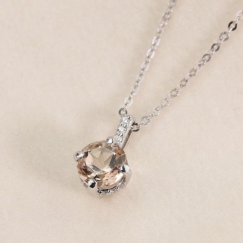Diamond Accented Morganite Pendant