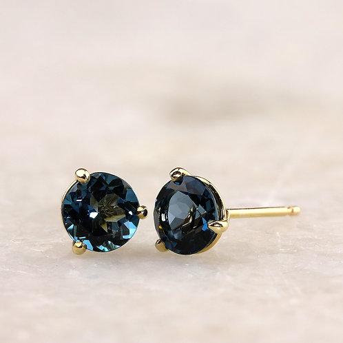 6mm Blue Topaz Stud Earrings
