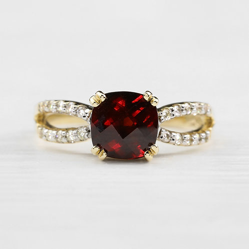 Split Shank Garnet Ring