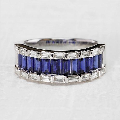 Emerald Cut Sapphire & Diamond Ring