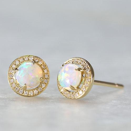 Opal Earrings in Yellow Gold