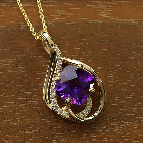 Amethyst Cushion Shape Pendant