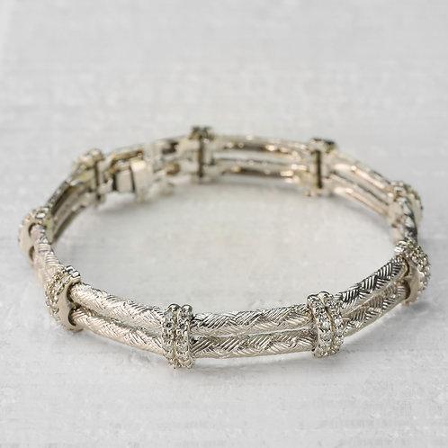 Engraved Diamond Accented Bracelet