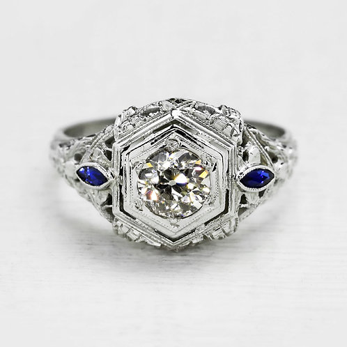 Sapphire Accented Filigree Ring
