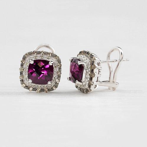 Garnet Halo Earrings