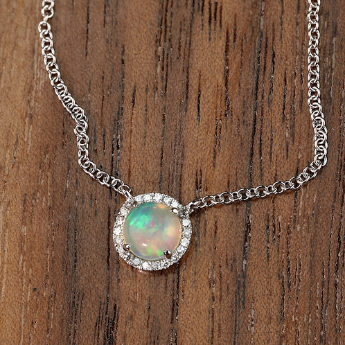 Opal Necklace in White Gold